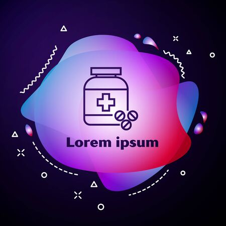 Purple line Medicine bottle and pills icon isolated on dark blue background. Bottle pill sign. Pharmacy design. Abstract banner with liquid shapes. Vector Illustration