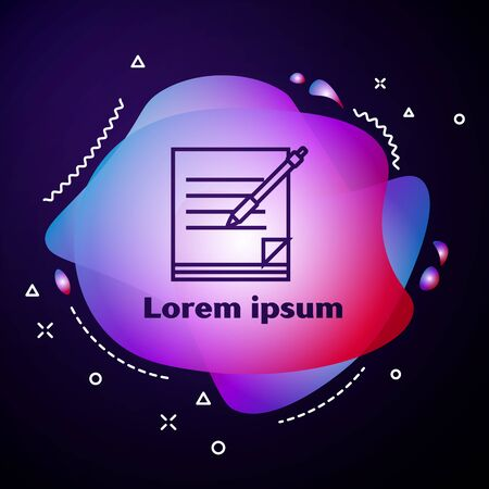 Purple line Blank notebook and pen icon isolated on dark blue background. Paper and pen. Abstract banner with liquid shapes. Vector Illustration 版權商用圖片 - 133414455