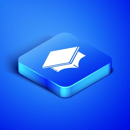 Isometric Graduation cap icon isolated on blue background. Graduation hat with tassel icon. Blue square button. Vector Illustration  イラスト・ベクター素材