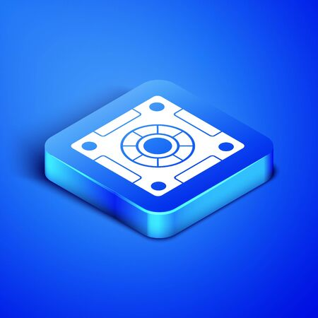 Isometric Safe icon isolated on blue background. The door safe a bank vault with a combination lock. Reliable Data Protection. Blue square button. Vector Illustration