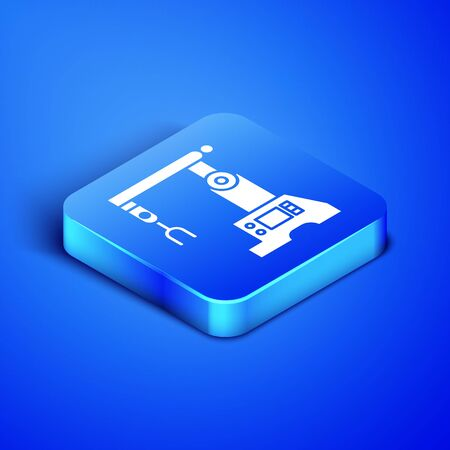 Isometric Assembly line icon isolated on blue background. Automatic production conveyor. Robotic industry concept. Blue square button. Vector Illustration Illustration