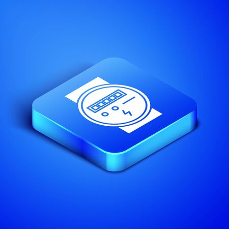Isometric Electric meter icon isolated on blue background. Blue square button. Vector Illustration