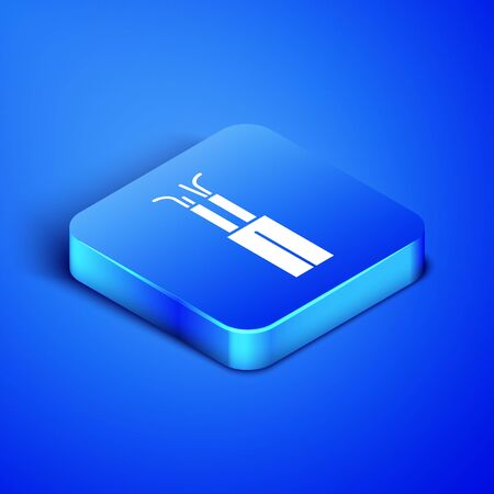Isometric Electric cable icon isolated on blue background. Blue square button. Vector Illustration Ilustrace