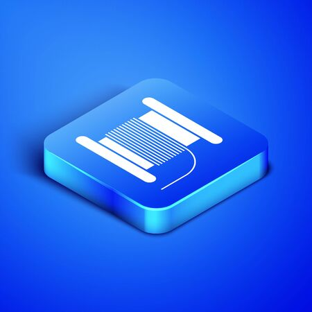 Isometric Wire electric cable on a reel or drum icon isolated on blue background. Blue square button. Vector Illustration