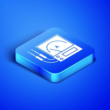 Isometric Ampere meter, multimeter, voltmeter icon isolated on blue background. Instruments for measurement of electric current. Blue square button. Vector Illustration Illustration
