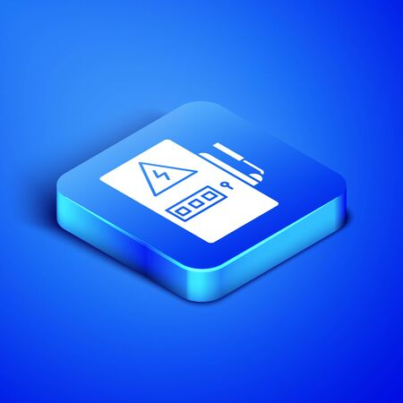 Isometric Electrical panel icon isolated on blue background. Blue square button. Vector Illustration
