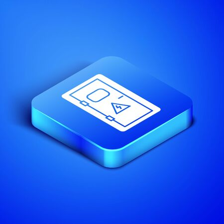 Isometric Electrical cabinet icon isolated on blue background. Blue square button. Vector Illustration