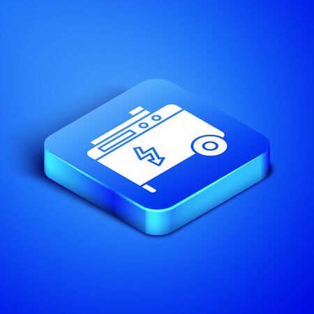 Isometric Portable power electric generator icon isolated on blue background. Industrial and home immovable power generator. Blue square button. Vector Illustration