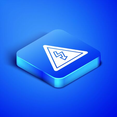 Isometric High voltage sign icon isolated on blue background. Danger symbol. Arrow in triangle. Warning icon. Blue square button. Vector Illustration