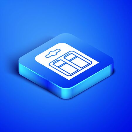 Isometric Battery in pack icon isolated on blue background. Lightning bolt symbol. Blue square button. Vector Illustration