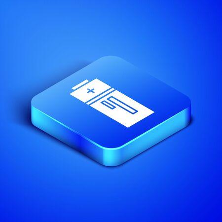 Isometric Battery icon isolated on blue background. Lightning bolt symbol. Blue square button. Vector Illustration 일러스트