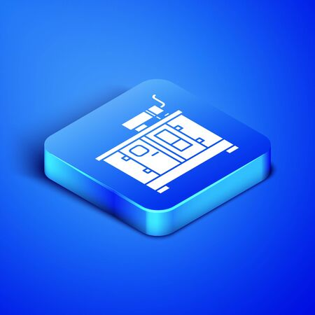 Isometric Diesel power generator icon isolated on blue background. Industrial and home immovable power generator. Blue square button. Vector Illustration Illusztráció