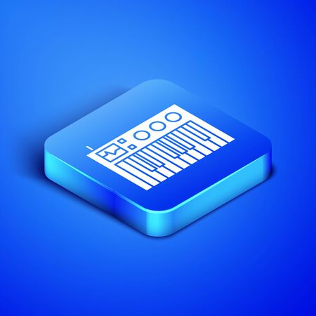 Isometric Music synthesizer icon isolated on blue background. Electronic piano. Blue square button. Vector Illustration Фото со стока - 133413374