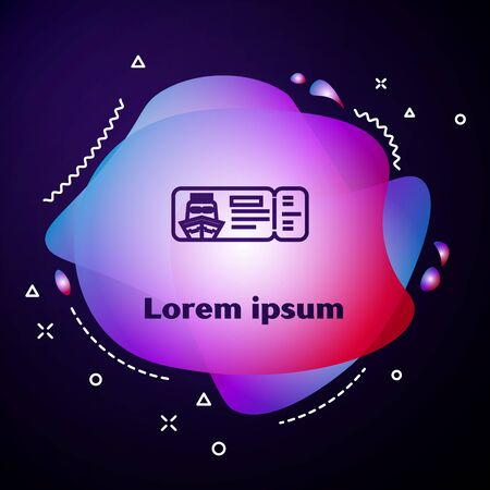 Purple line Cruise ticket for traveling by ship icon isolated on dark blue background. Travel by Cruise liner. Cruises to Paradise. Abstract banner with liquid shapes. Vector Illustration 向量圖像