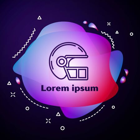 Purple line American football helmet icon isolated on dark blue background. Abstract banner with liquid shapes. Vector Illustration Standard-Bild - 133413432