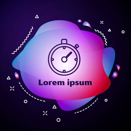 Purple line Stopwatch icon isolated on dark blue background. Time timer sign. Chronometer sign. Abstract banner with liquid shapes. Vector Illustration Illusztráció