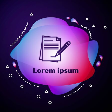 Purple line Blank notebook and pencil with eraser icon isolated on dark blue background. Paper and pencil. Abstract banner with liquid shapes. Vector Illustration 版權商用圖片 - 133413485