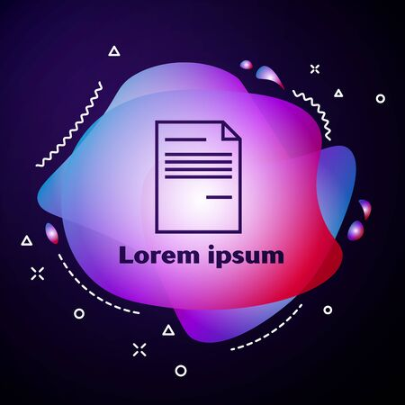 Purple line Document icon isolated on dark blue background. File icon. Checklist icon. Business concept. Abstract banner with liquid shapes. Vector Illustration Illusztráció