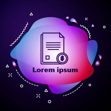 Purple line Finance document icon isolated on dark blue background. Paper bank document with dollar coin for invoice or bill concept. Abstract banner with liquid shapes. Vector Illustration Stock Vector - 133408307