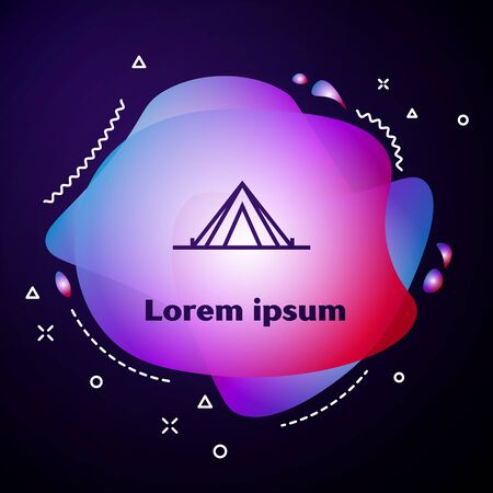 Purple line Tourist tent icon isolated on dark blue background. Camping symbol. Abstract banner with liquid shapes. Vector Illustration 스톡 콘텐츠 - 133413524