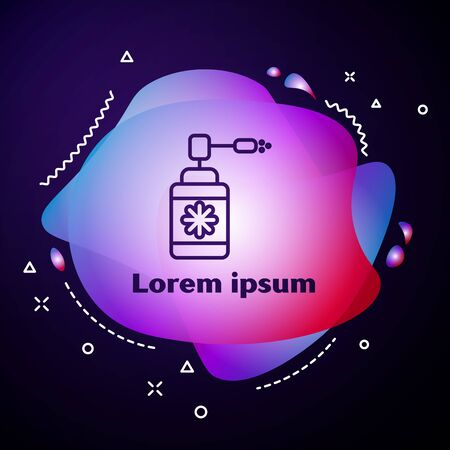 Purple line Medical bottle with nozzle spray for the treatment of diseases of the nose and throat icon isolated on dark blue background. Abstract banner with liquid shapes. Vector Illustration Ilustração