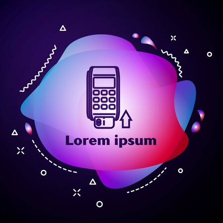 Purple line Pos terminal with inserted credit card icon isolated on dark blue background. Payment terminal transaction. Pay by card. Abstract banner with liquid shapes. Vector Illustration Stock Vector - 133413719