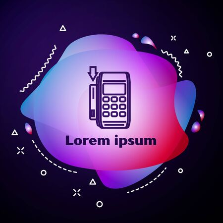 Purple line Pos terminal with inserted credit card icon isolated on dark blue background. Payment terminal transaction. Pay by card. Abstract banner with liquid shapes. Vector Illustration Illustration