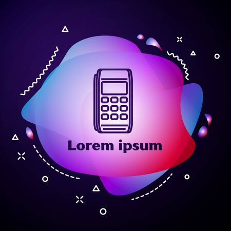 Purple line Pos terminal icon isolated on dark blue background. Payment terminal transaction. Pay by card. Abstract banner with liquid shapes. Vector Illustration