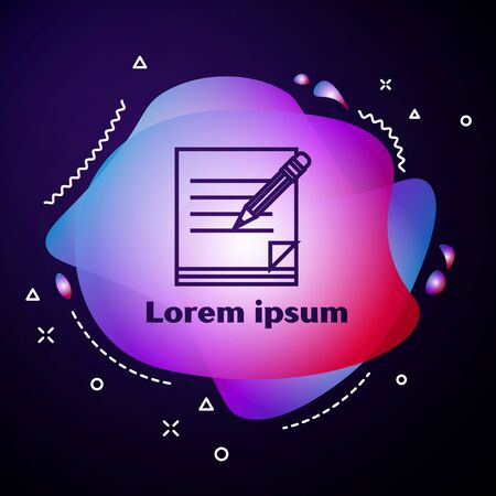 Purple line Blank notebook and pencil with eraser icon isolated on dark blue background. Paper and pencil. Abstract banner with liquid shapes. Vector Illustration 版權商用圖片 - 133413749