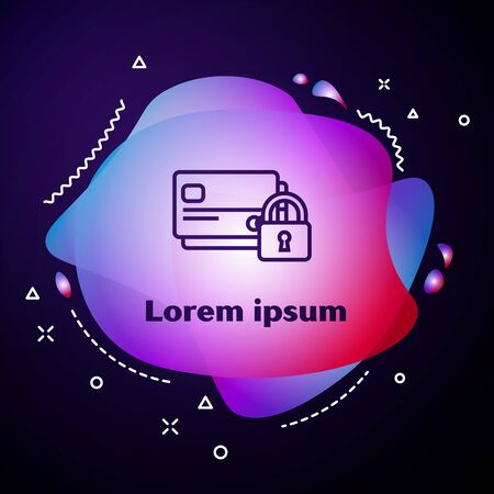 Purple line Credit card with lock icon on blue background. Locked bank card. Security, safety, protection concept. Concept of a safe payment. Abstract banner with liquid shapes. Vector Illustration