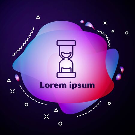 Purple line Old hourglass with flowing sand icon on dark blue background. Sand clock sign. Business and time management concept. Abstract banner with liquid shapes. Vector Illustration