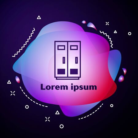 Purple line Locker or changing room for football, basketball team or workers icon isolated on dark blue background. Abstract banner with liquid shapes. Vector Illustration