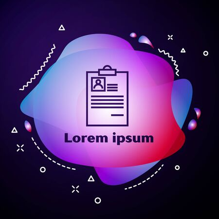 Purple line Clipboard with resume icon on dark blue background. CV application. Curriculum vitae, job application form with profile photo. Abstract banner with liquid shapes. Vector Illustration Illusztráció
