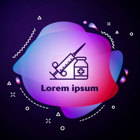 Purple line Medical syringe with needle and vial or ampoule icon on dark blue background. Vaccination, injection, vaccine, insulin concept. Abstract banner with liquid shapes. Vector Illustration
