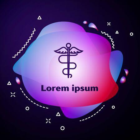 Purple line Caduceus snake medical symbol icon on dark blue background. Medicine and health care. Emblem for drugstore or medicine, pharmacy. Abstract banner with liquid shapes. Vector Illustration Ilustração
