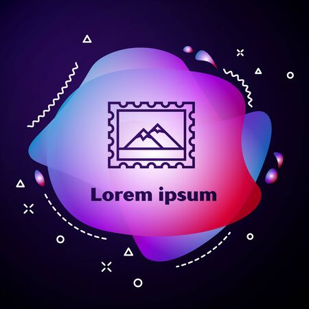 Purple line Postal stamp and Mountains icon isolated on dark blue background. Abstract banner with liquid shapes. Vector Illustration 일러스트