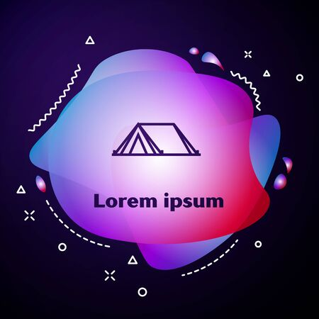 Purple line Tourist tent icon isolated on dark blue background. Camping symbol. Abstract banner with liquid shapes. Vector Illustration