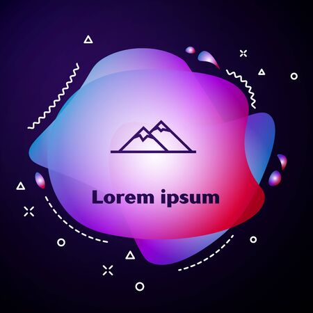 Purple line Mountains icon isolated on dark blue background. Symbol of victory or success concept. Abstract banner with liquid shapes. Vector Illustration