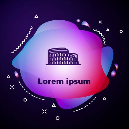 Purple line Coliseum in Rome, Italy icon isolated on dark blue background. Colosseum sign. Symbol of Ancient Rome, gladiator fights. Abstract banner with liquid shapes. Vector Illustration Ilustrace