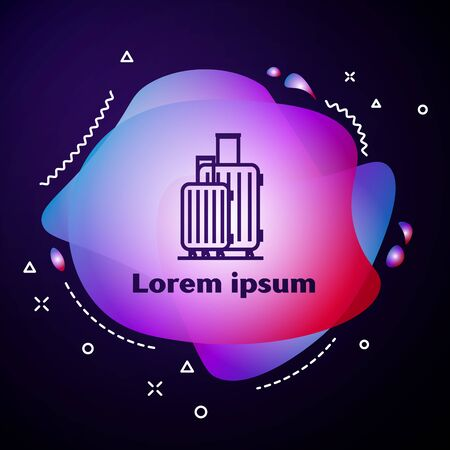 Purple line Suitcase for travel icon isolated on dark blue background. Traveling baggage sign. Travel luggage icon. Abstract banner with liquid shapes. Vector Illustration 일러스트
