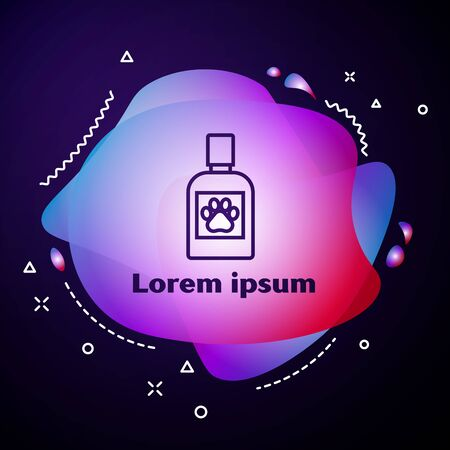 Purple line Dog medicine bottle icon isolated on dark blue background. Container with pills. Prescription medicine for animal. Abstract banner with liquid shapes. Vector Illustration