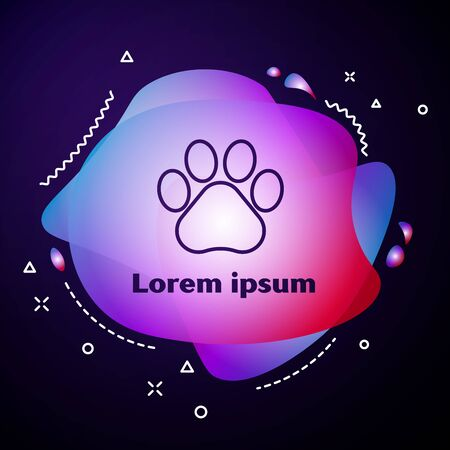 Purple line Paw print icon isolated on dark blue background. Dog or cat paw print. Animal track. Abstract banner with liquid shapes. Vector Illustration