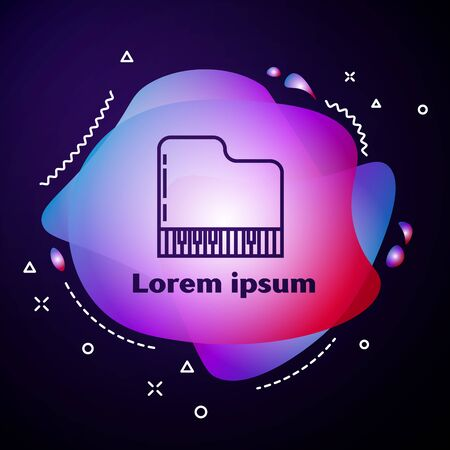Purple line Grand piano icon isolated on dark blue background. Musical instrument. Abstract banner with liquid shapes. Vector Illustration Фото со стока - 133414120