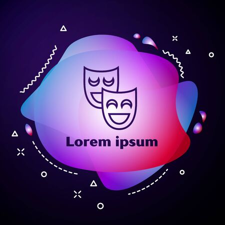 Purple line Comedy theatrical masks icon isolated on dark blue background. Abstract banner with liquid shapes. Vector Illustration