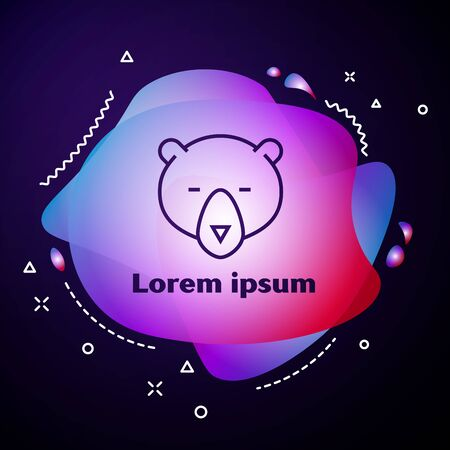 Purple line Bear head icon on dark blue background. Abstract banner with liquid shapes. Vector Illustration Ilustracja