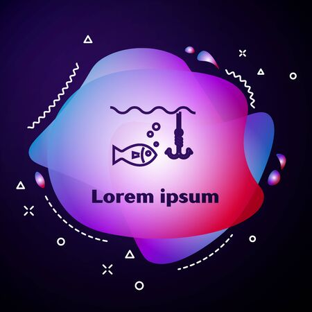 Purple line Fishing hook under water with fish icon isolated on dark blue background. Fishing tackle. Abstract banner with liquid shapes. Vector Illustration