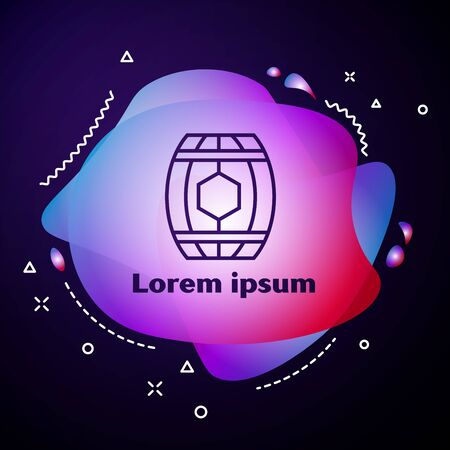 Purple line Wooden barrel with honey icon isolated on dark blue background. Abstract banner with liquid shapes. Vector Illustration  イラスト・ベクター素材