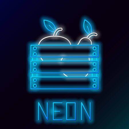 Blue glowing neon line Wooden box for fruits and vegetables icon isolated on black background. Colorful outline concept. Vector Illustration