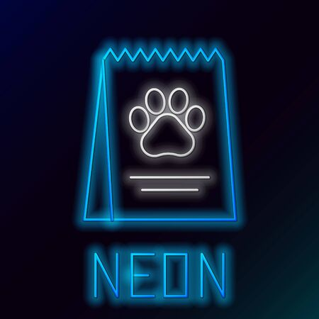 Blue glowing neon line Bag of food for dog icon isolated on black background. Dog or cat paw print. Food for animals. Pet food package. Colorful outline concept. Vector Illustration