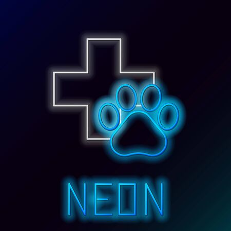 Blue glowing neon line Veterinary clinic symbol icon on black background. Cross hospital sign. A stylized paw print dog or cat. Pet First Aid sign. Colorful outline concept. Vector Illustration